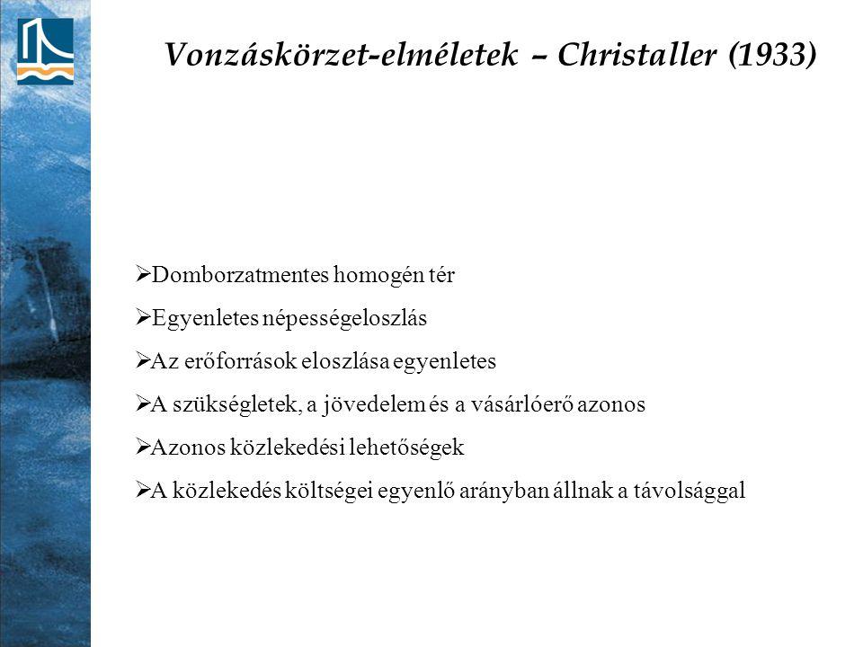 Vonzáskörzet-elméletek – Christaller (1933)  Domborzatmentes homogén tér  Egyenletes népességeloszlás  Az erőforrások eloszlása egyenletes  A szük