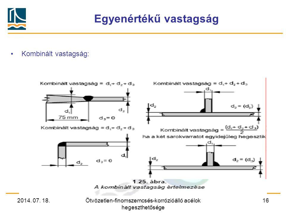2014. 07. 18.Ötvözetlen-finomszemcsés-korrózióálló acélok hegeszthetősége 16 Egyenértékű vastagság Kombinált vastagság: