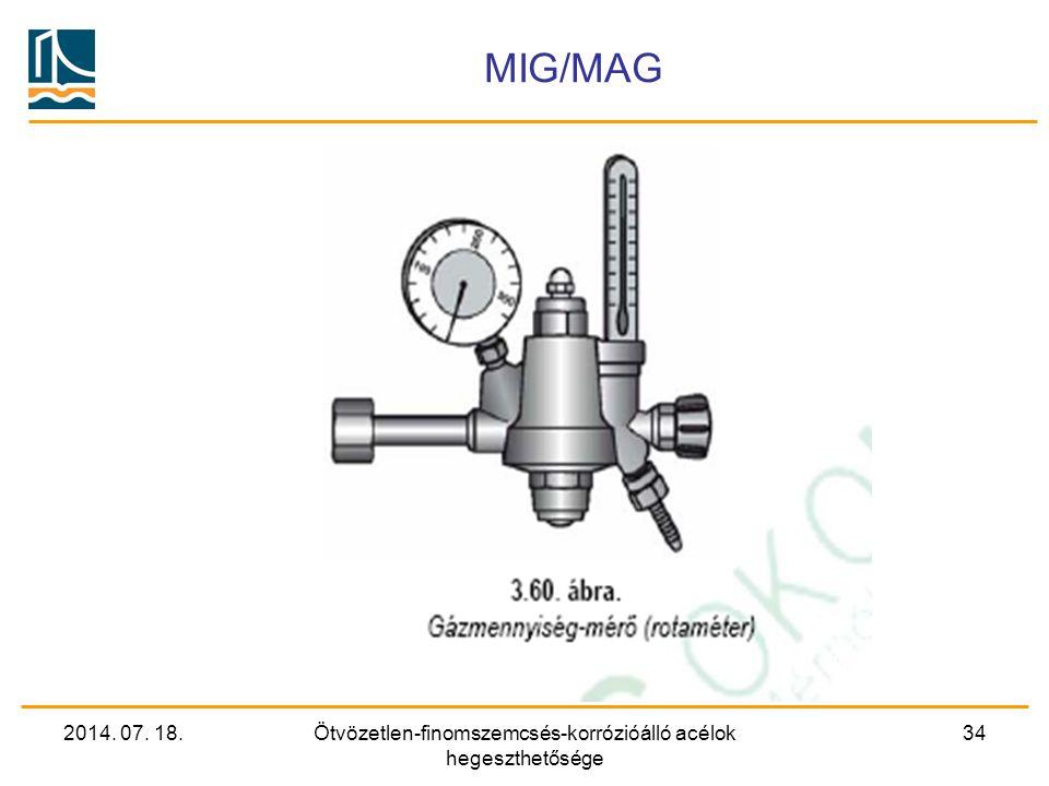 2014. 07. 18.Ötvözetlen-finomszemcsés-korrózióálló acélok hegeszthetősége 34 MIG/MAG