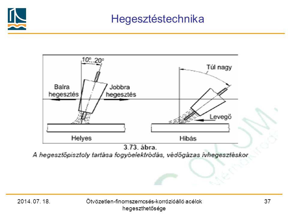 2014. 07. 18.Ötvözetlen-finomszemcsés-korrózióálló acélok hegeszthetősége 37 Hegesztéstechnika