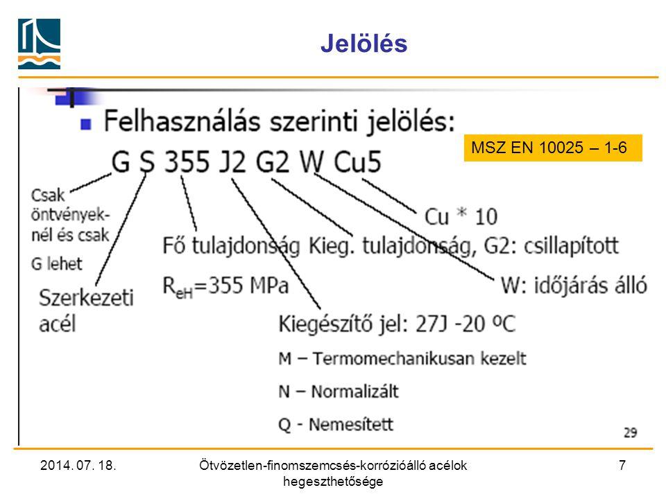 2014. 07. 18.Ötvözetlen-finomszemcsés-korrózióálló acélok hegeszthetősége 7 Jelölés MSZ EN 10025 – 1-6