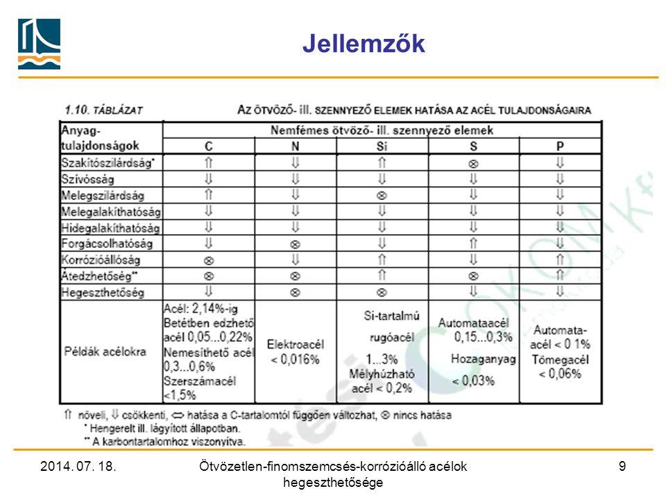2014. 07. 18.Ötvözetlen-finomszemcsés-korrózióálló acélok hegeszthetősége 9 Jellemzők