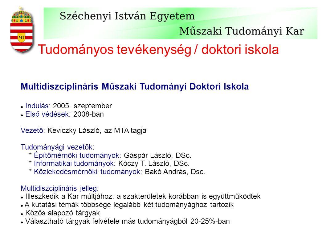 Tudományos tevékenység / doktori iskola Multidiszciplináris Műszaki Tudományi Doktori Iskola Indulás: 2005. szeptember Első védések: 2008-ban Vezető: