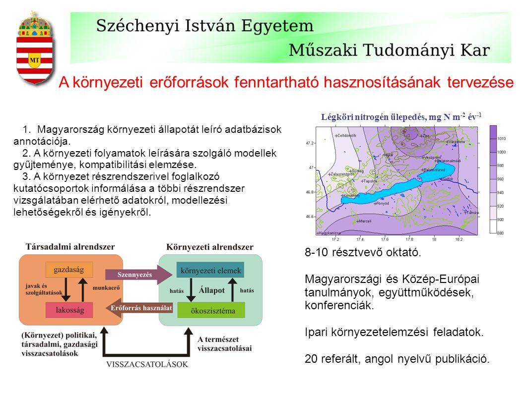 A környezeti erőforrások fenntartható hasznosításának tervezése 1. Magyarország környezeti állapotát leíró adatbázisok annotációja. 2. A környezeti fo