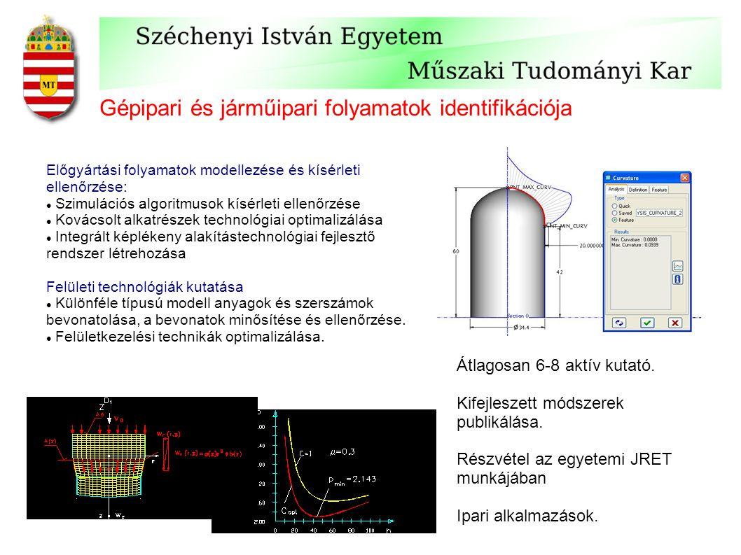 Gépipari és járműipari folyamatok identifikációja Előgyártási folyamatok modellezése és kísérleti ellenőrzése: Szimulációs algoritmusok kísérleti elle