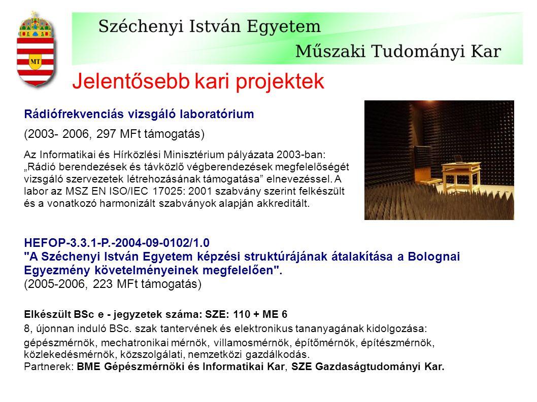 Jelentősebb kari projektek Rádiófrekvenciás vizsgáló laboratórium (2003- 2006, 297 MFt támogatás) Az Informatikai és Hírközlési Minisztérium pályázata