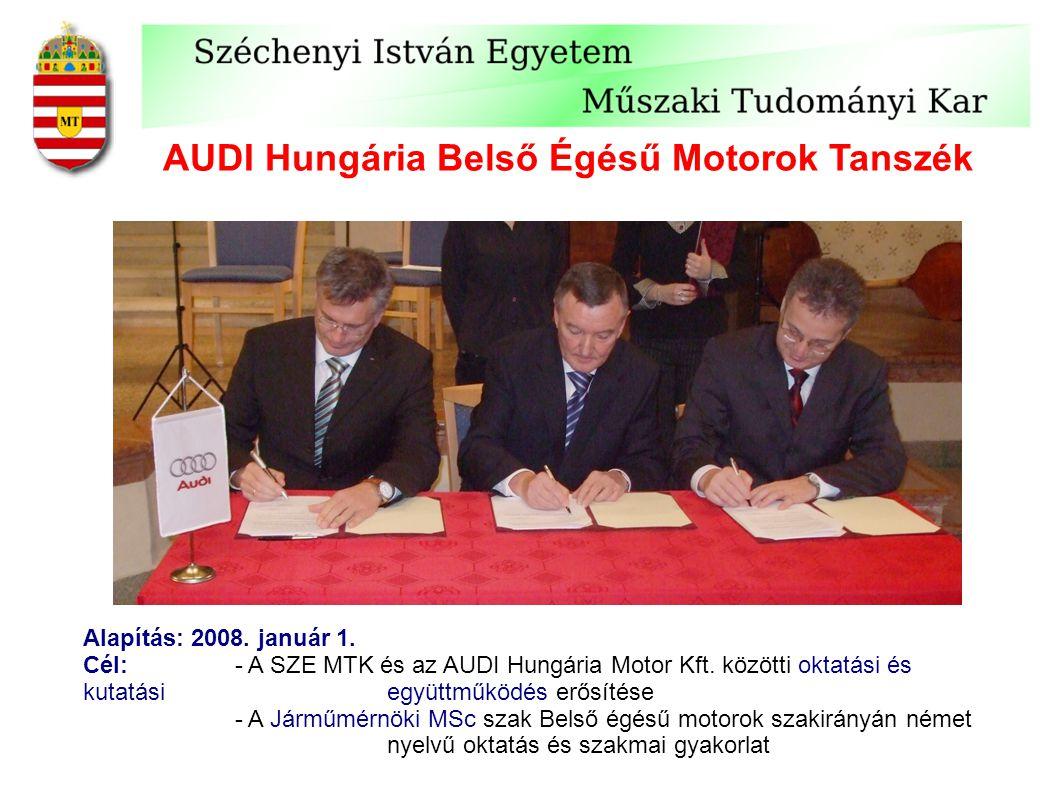 AUDI Hungária Belső Égésű Motorok Tanszék Alapítás: 2008. január 1. Cél:- A SZE MTK és az AUDI Hungária Motor Kft. közötti oktatási és kutatási együtt