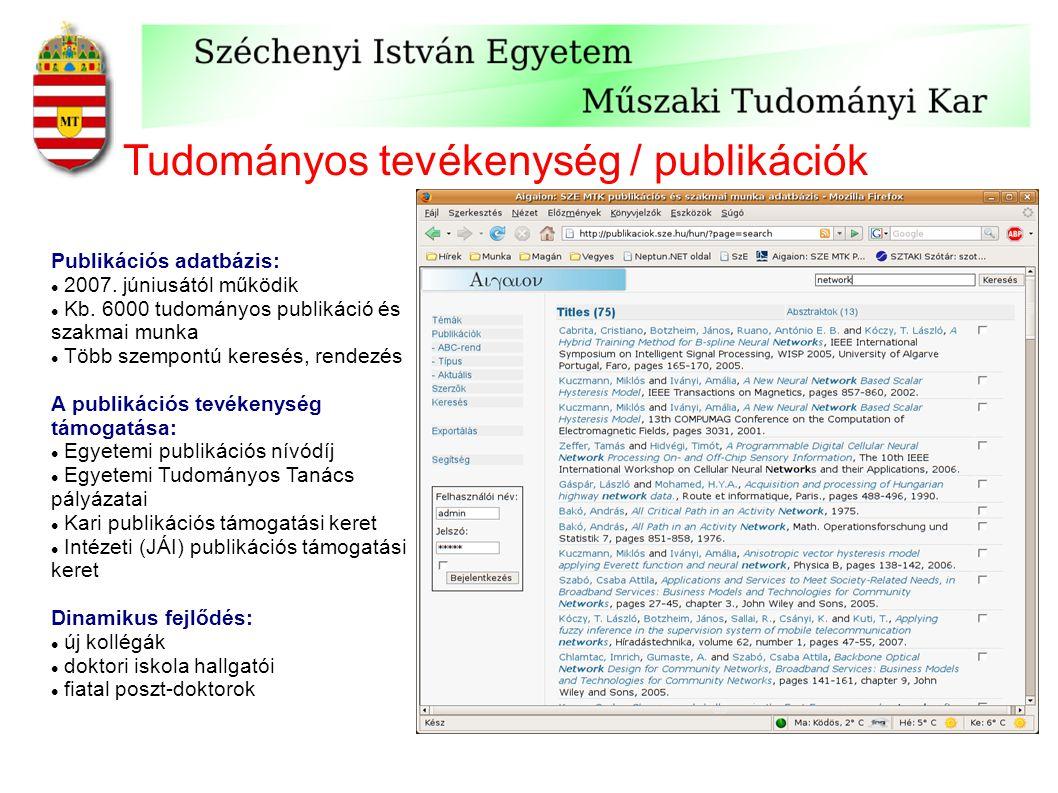 Tudományos tevékenység / publikációk Publikációs adatbázis: 2007. júniusától működik Kb. 6000 tudományos publikáció és szakmai munka Több szempontú ke