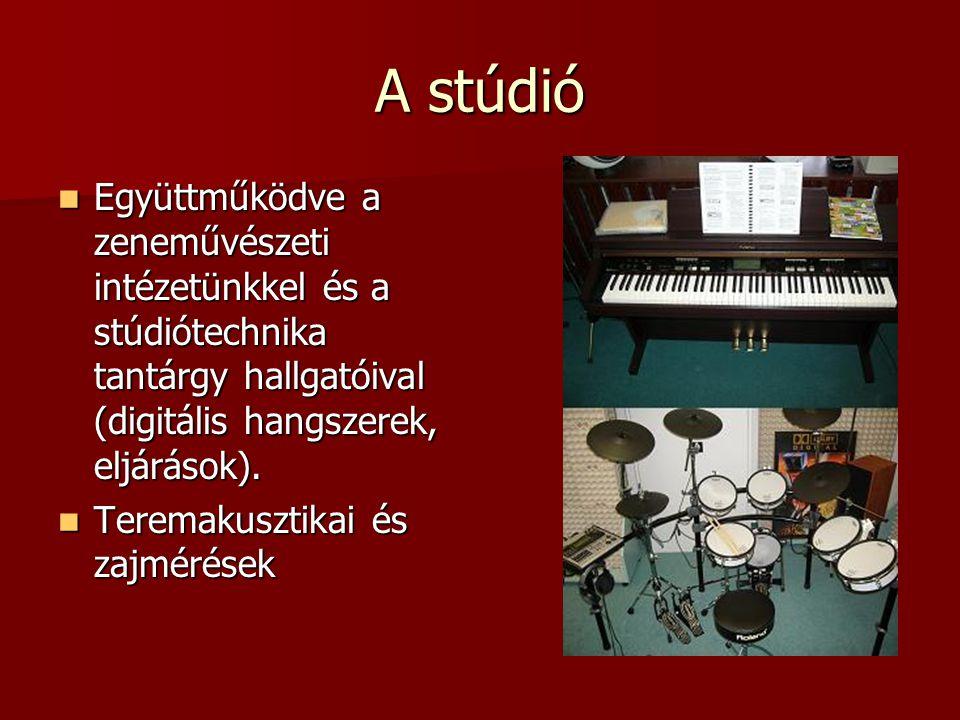 A stúdió Együttműködve a zeneművészeti intézetünkkel és a stúdiótechnika tantárgy hallgatóival (digitális hangszerek, eljárások). Együttműködve a zene