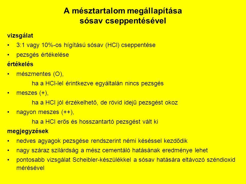 A mésztartalom megállapítása sósav cseppentésével vizsgálat 3:1 vagy 10%-os hígítású sósav (HCl) cseppentése pezsgés értékelése értékelés mészmentes (