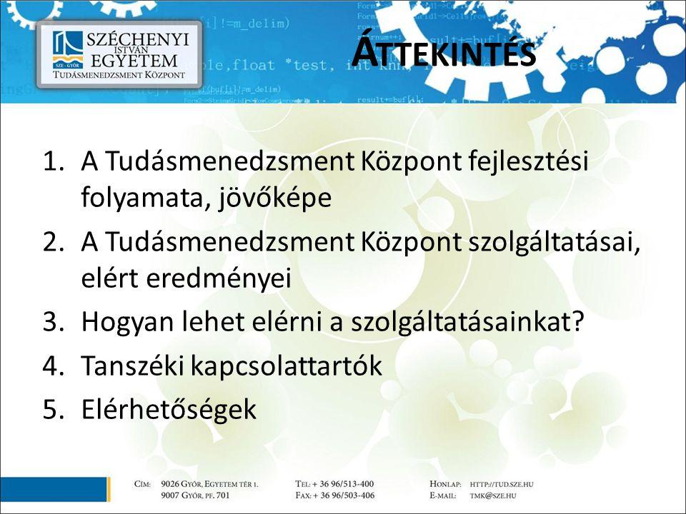 1.A Tudásmenedzsment Központ fejlesztési folyamata, jövőképe 2.A Tudásmenedzsment Központ szolgáltatásai, elért eredményei 3.Hogyan lehet elérni a szolgáltatásainkat.