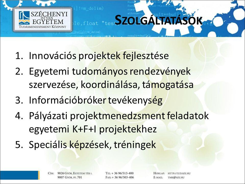 S ZOLGÁLTATÁSOK 1.Innovációs projektek fejlesztése 2.Egyetemi tudományos rendezvények szervezése, koordinálása, támogatása 3.Információbróker tevékenység 4.Pályázati projektmenedzsment feladatok egyetemi K+F+I projektekhez 5.Speciális képzések, tréningek