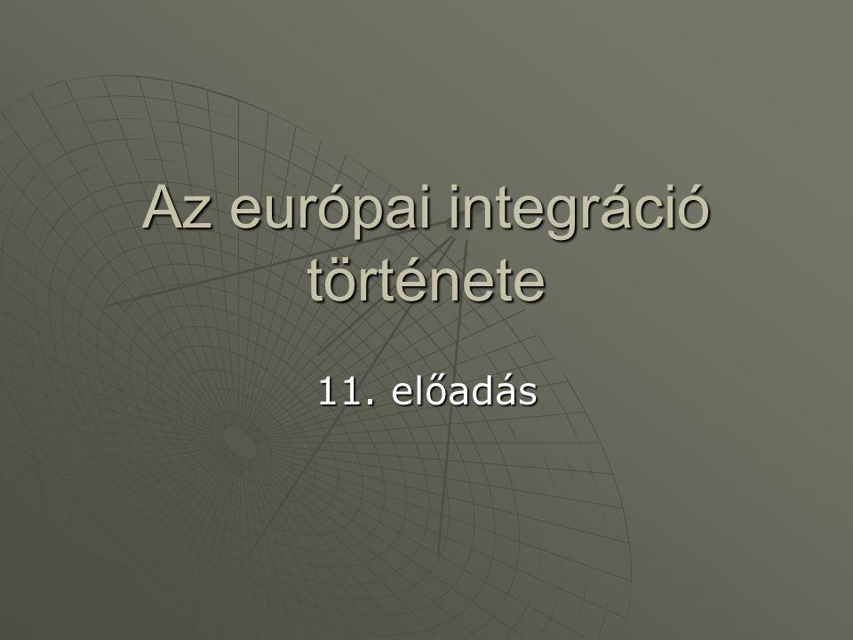 A 90-es évek, mint az integráció történetének legmozgalmasabb évtizede  A Maastrichti Szerződés A három pilléren nyugvó Európai UnióA három pilléren nyugvó Európai Unió Egységes európai piac – Egységes Európai Gazdasági TérEgységes európai piac – Egységes Európai Gazdasági Tér A pénzügyi unió megteremtésének lépéseiA pénzügyi unió megteremtésének lépései A Szociálpolitikai JegyzőkönyvA Szociálpolitikai Jegyzőkönyv  Az agrárpolitika 1992-es reformja