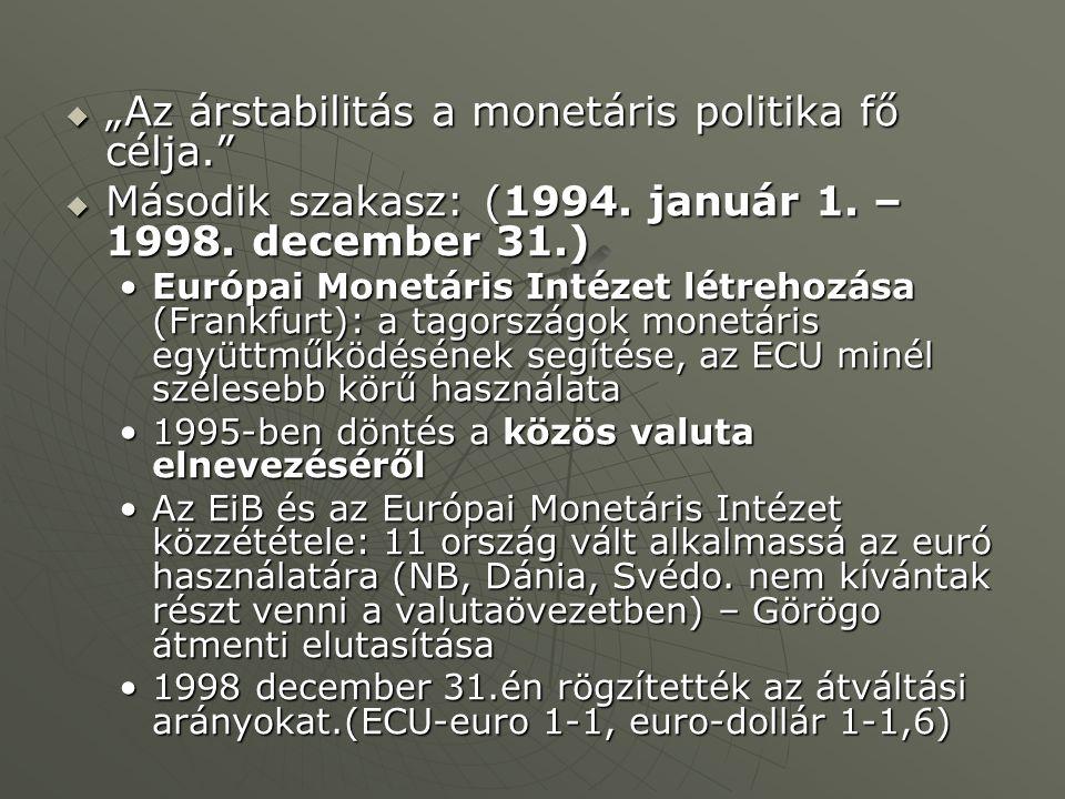 """ """"Az árstabilitás a monetáris politika fő célja.""""  Második szakasz: (1994. január 1. – 1998. december 31.) Európai Monetáris Intézet létrehozása (Fr"""