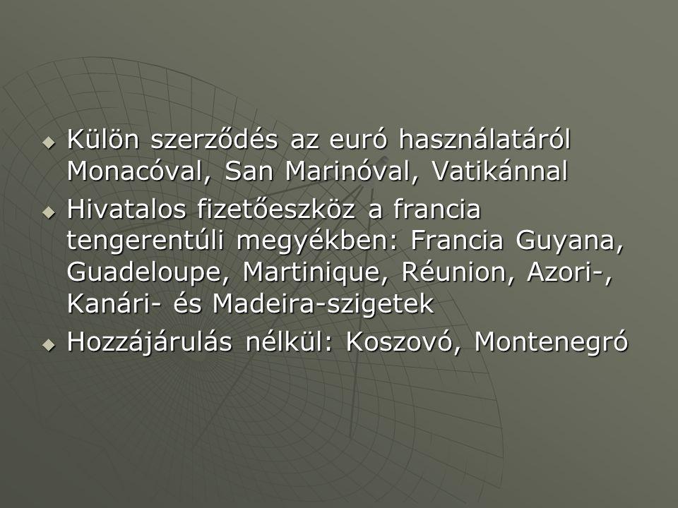  Külön szerződés az euró használatáról Monacóval, San Marinóval, Vatikánnal  Hivatalos fizetőeszköz a francia tengerentúli megyékben: Francia Guyana