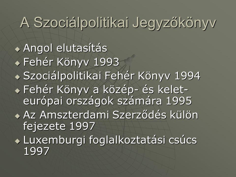 A Szociálpolitikai Jegyzőkönyv  Angol elutasítás  Fehér Könyv 1993  Szociálpolitikai Fehér Könyv 1994  Fehér Könyv a közép- és kelet- európai orsz
