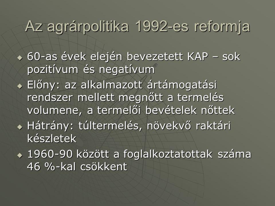 Az agrárpolitika 1992-es reformja  60-as évek elején bevezetett KAP – sok pozitívum és negatívum  Előny: az alkalmazott ártámogatási rendszer mellet