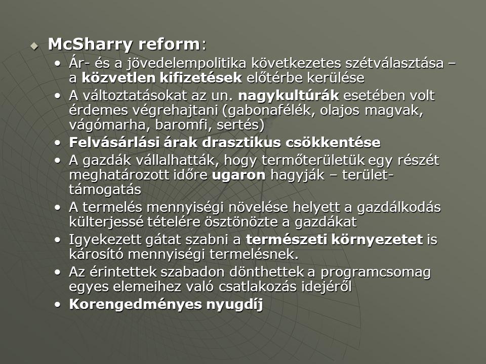  McSharry reform: Ár- és a jövedelempolitika következetes szétválasztása – a közvetlen kifizetések előtérbe kerüléseÁr- és a jövedelempolitika követk
