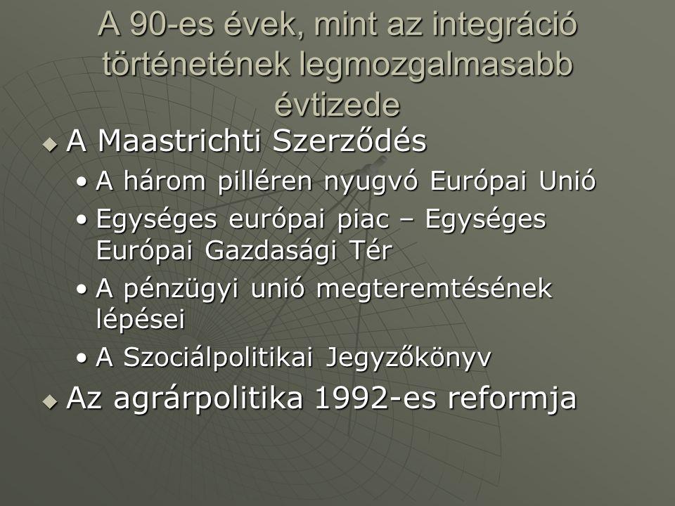 A Maastrichti Szerződés  Az EEO 1986-ban a gazdasági, pénzügyi, politikai unió megvalósításának lehetőségei Hátrány a gazdasági integráció alacsony foka az USÁ-val szemben – négy szabadság elvének megvalósítása = egységes belső piacHátrány a gazdasági integráció alacsony foka az USÁ-val szemben – négy szabadság elvének megvalósítása = egységes belső piac Monetáris unió megvalósításaMonetáris unió megvalósítása A politikai unió a legproblematikusabbA politikai unió a legproblematikusabb Kelet-európai változások nyomásaKelet-európai változások nyomása  1991.