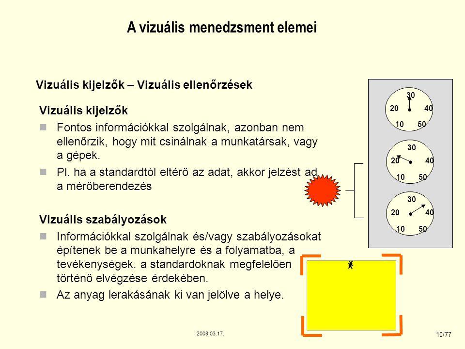 2008.03.17. 10/77 A vizuális menedzsment elemei Vizuális kijelzők Fontos információkkal szolgálnak, azonban nem ellenőrzik, hogy mit csinálnak a munka