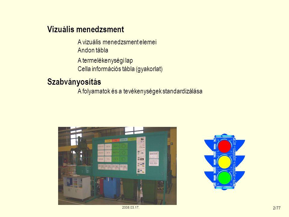 2008.03.17. 2/77 Vizuális menedzsment A vizuális menedzsment elemei Andon tábla A termelékenységi lap Cella információs tábla (gyakorlat) Szabványosít