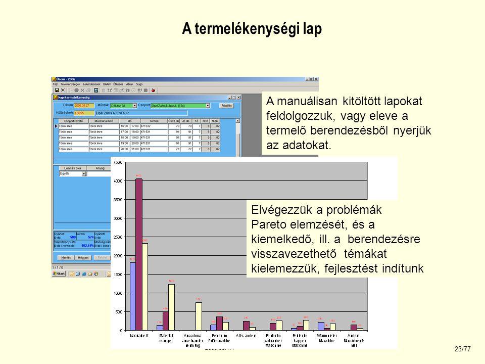 2008.03.17. 23/77 A manuálisan kitöltött lapokat feldolgozzuk, vagy eleve a termelő berendezésből nyerjük az adatokat. Elvégezzük a problémák Pareto e