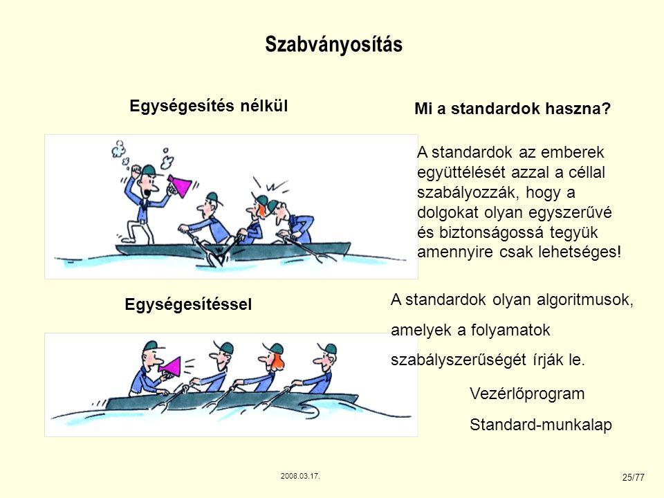 2008.03.17. 25/77 Egységesítés nélkül Egységesítéssel Szabványosítás Mi a standardok haszna? A standardok az emberek együttélését azzal a céllal szabá