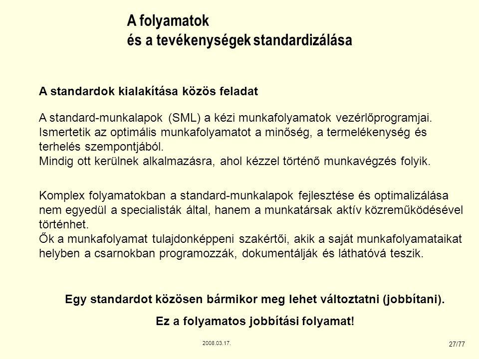 2008.03.17. 27/77 A folyamatok és a tevékenységek standardizálása A standard-munkalapok (SML) a kézi munkafolyamatok vezérlőprogramjai. Ismertetik az