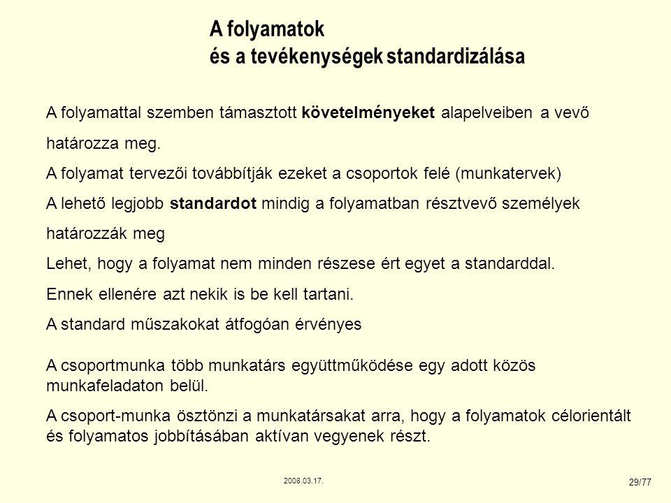 2008.03.17. 29/77 A folyamatok és a tevékenységek standardizálása A folyamattal szemben támasztott követelményeket alapelveiben a vevő határozza meg.