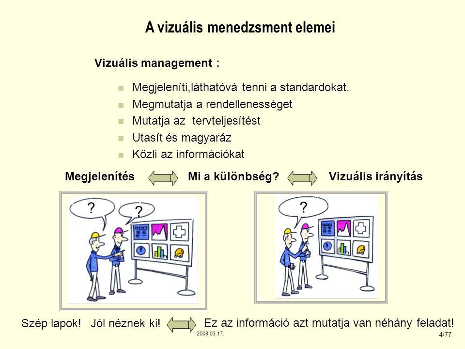 2008.03.17. 4/77 A vizuális menedzsment elemei Vizuális management : Megjeleníti,láthatóvá tenni a standardokat. Megmutatja a rendellenességet Mutatja