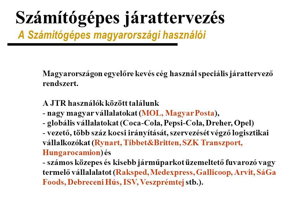 Számítógépes járattervezés A Számítógépes magyarországi használói Magyarországon egyelőre kevés cég használ speciális járattervező rendszert. A JTR ha