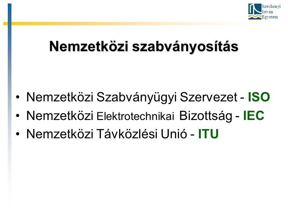 Széchenyi István Egyetem Nemzetközi szabványosítás Nemzetközi Szabványügyi Szervezet - ISO Nemzetközi Elektrotechnikai Bizottság - IEC Nemzetközi Távk
