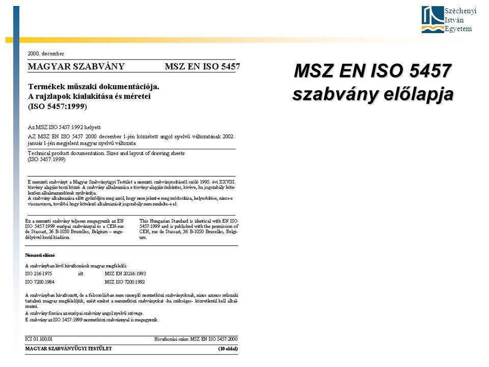 Széchenyi István Egyetem MSZ EN ISO 5457 szabvány előlapja