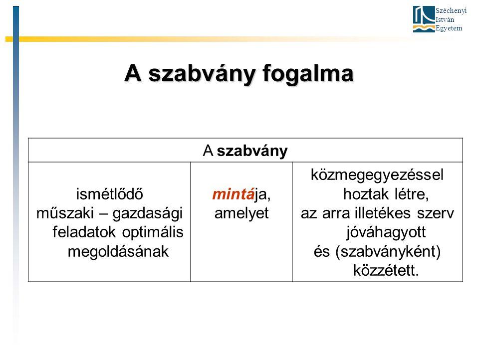 Széchenyi István Egyetem A szabvány fogalma A szabvány ismétlődő műszaki – gazdasági feladatok optimális megoldásának mintája, amelyet közmegegyezésse
