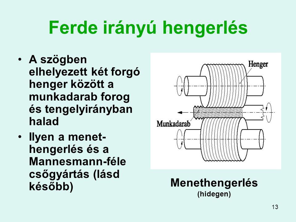 13 Ferde irányú hengerlés A szögben elhelyezett két forgó henger között a munkadarab forog és tengelyirányban halad Ilyen a menet- hengerlés és a Mannesmann-féle csőgyártás (lásd később) Menethengerlés (hidegen)