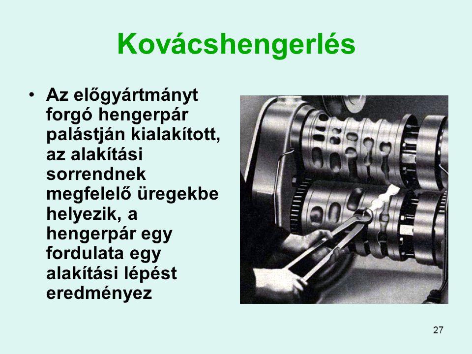27 Kovácshengerlés Az előgyártmányt forgó hengerpár palástján kialakított, az alakítási sorrendnek megfelelő üregekbe helyezik, a hengerpár egy fordulata egy alakítási lépést eredményez