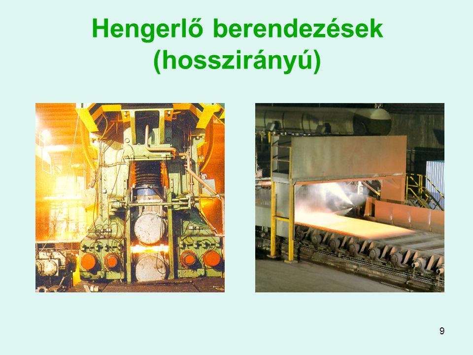 10 Hengersorok Az egymást követő alakítási lépéseket célszerűen sorba rendezett hengerállványokon végzik Ilyenkor a hengerek beállításai a fogyási tervnek megfelelően követik egymást.