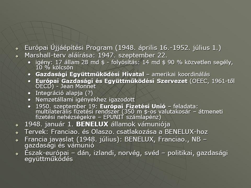  Európai Újjáépítési Program (1948.április 16.-1952.