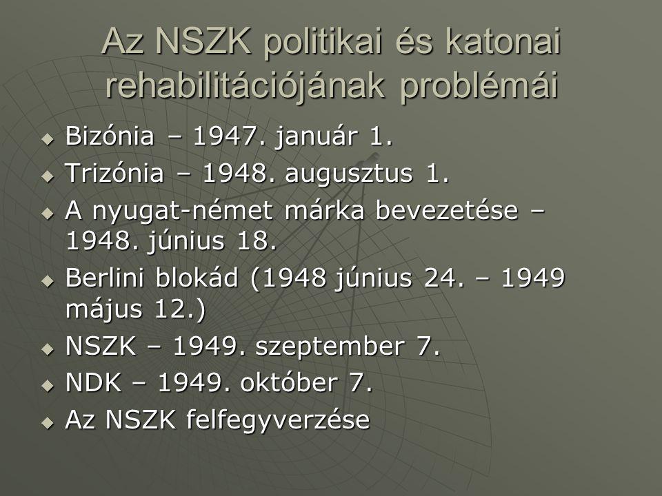 Az NSZK politikai és katonai rehabilitációjának problémái  Bizónia – 1947.