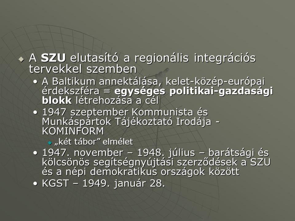 """ A SZU elutasító a regionális integrációs tervekkel szemben A Baltikum annektálása, kelet-közép-európai érdekszféra = egységes politikai-gazdasági blokk létrehozása a célA Baltikum annektálása, kelet-közép-európai érdekszféra = egységes politikai-gazdasági blokk létrehozása a cél 1947 szeptember Kommunista és Munkáspártok Tájékoztató Irodája - KOMINFORM1947 szeptember Kommunista és Munkáspártok Tájékoztató Irodája - KOMINFORM  """"két tábor elmélet 1947."""