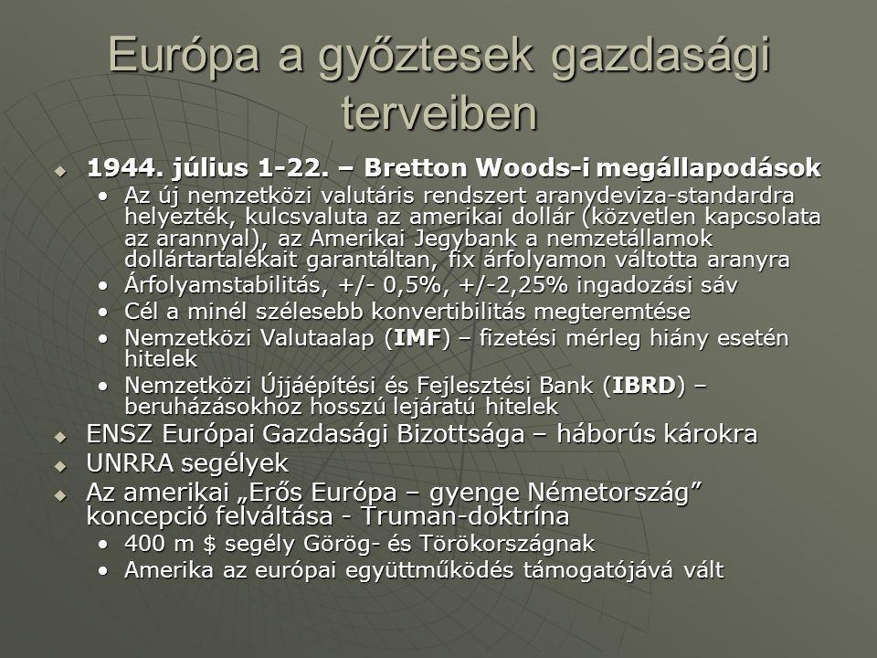 Európa a győztesek gazdasági terveiben  1944.július 1-22.