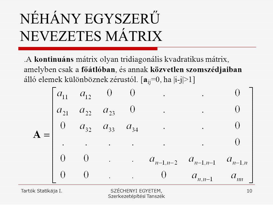 Tartók Statikája I.SZÉCHENYI EGYETEM, Szerkezetépítési Tanszék 10 NÉHÁNY EGYSZERŰ NEVEZETES MÁTRIX.A kontinuáns mátrix olyan tridiagonális kvadratikus