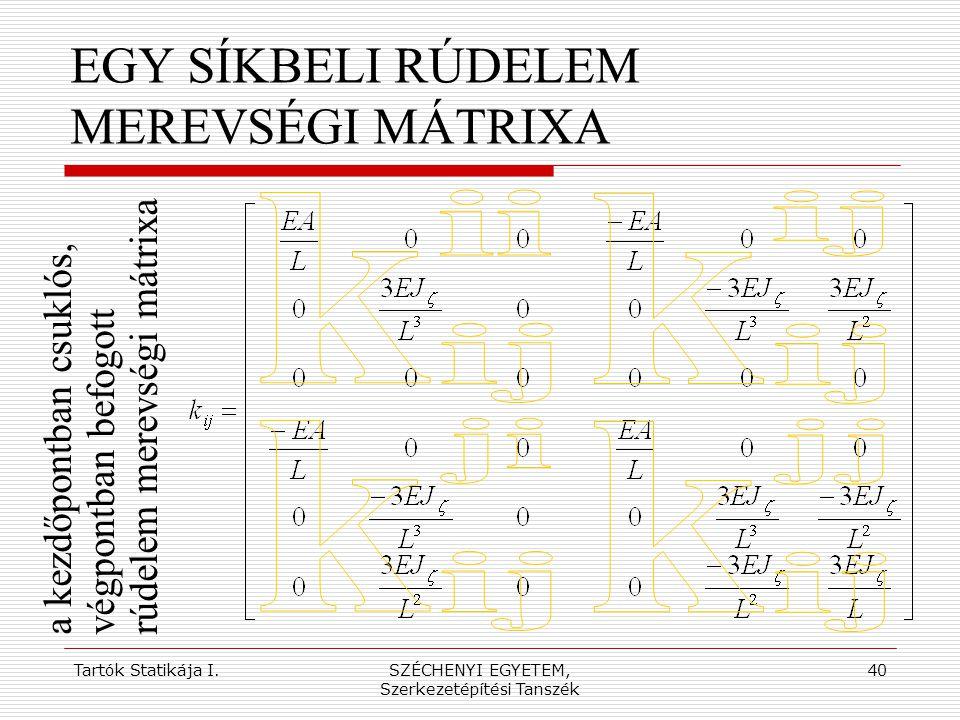 Tartók Statikája I.SZÉCHENYI EGYETEM, Szerkezetépítési Tanszék 40 EGY SÍKBELI RÚDELEM MEREVSÉGI MÁTRIXA a kezdőpontban csuklós,végpontban befogottrúde