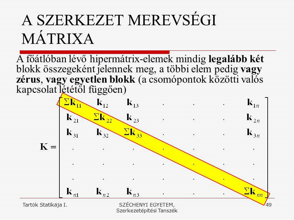 Tartók Statikája I.SZÉCHENYI EGYETEM, Szerkezetépítési Tanszék 49 A SZERKEZET MEREVSÉGI MÁTRIXA A főátlóban lévő hipermátrix-elemek mindig legalább ké