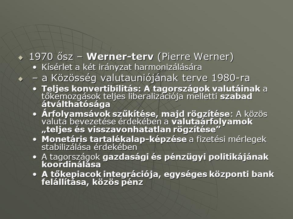 """ 1970 ősz – Werner-terv (Pierre Werner) Kísérlet a két irányzat harmonizálásáraKísérlet a két irányzat harmonizálására  – a Közösség valutauniójának terve 1980-ra Teljes konvertibilitás: A tagországok valutáinak a tőkemozgások teljes liberalizációja melletti szabad átválthatóságaTeljes konvertibilitás: A tagországok valutáinak a tőkemozgások teljes liberalizációja melletti szabad átválthatósága Árfolyamsávok szűkítése, majd rögzítése: A közös valuta bevezetése érdekében a valutaárfolyamok """"teljes és visszavonhatatlan rögzítése Árfolyamsávok szűkítése, majd rögzítése: A közös valuta bevezetése érdekében a valutaárfolyamok """"teljes és visszavonhatatlan rögzítése Monetáris tartalékalap-képzése a fizetési mérlegek stabilizálása érdekébenMonetáris tartalékalap-képzése a fizetési mérlegek stabilizálása érdekében A tagországok gazdasági és pénzügyi politikájának koordinálásaA tagországok gazdasági és pénzügyi politikájának koordinálása A tőkepiacok integrációja, egységes központi bank felállítása, közös pénzA tőkepiacok integrációja, egységes központi bank felállítása, közös pénz"""