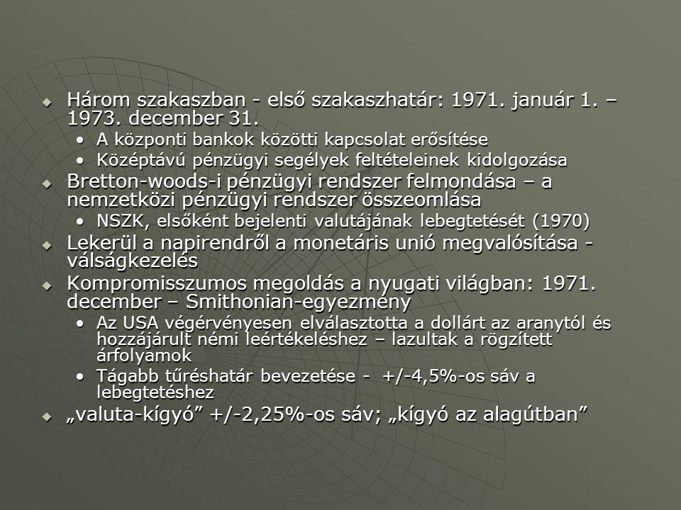  Három szakaszban - első szakaszhatár: 1971. január 1. – 1973. december 31. A központi bankok közötti kapcsolat erősítéseA központi bankok közötti ka