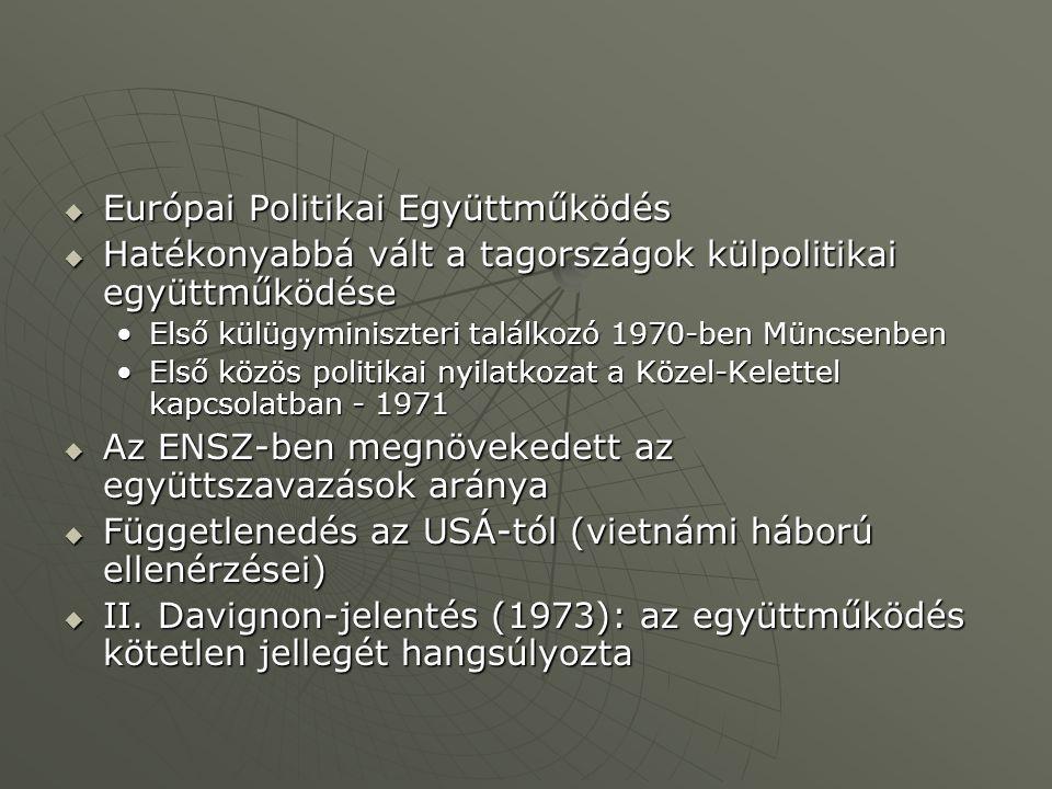  Európai Politikai Együttműködés  Hatékonyabbá vált a tagországok külpolitikai együttműködése Első külügyminiszteri találkozó 1970-ben MüncsenbenElső külügyminiszteri találkozó 1970-ben Müncsenben Első közös politikai nyilatkozat a Közel-Kelettel kapcsolatban - 1971Első közös politikai nyilatkozat a Közel-Kelettel kapcsolatban - 1971  Az ENSZ-ben megnövekedett az együttszavazások aránya  Függetlenedés az USÁ-tól (vietnámi háború ellenérzései)  II.