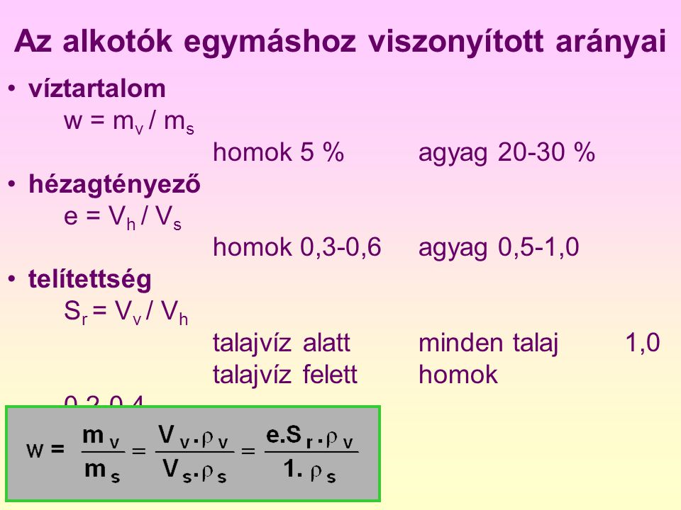 Az alkotók térfogatának aránya a teljes térfogathoz hézagtérfogat n = V h / V szemcsetérfogat s = V s / V víztérfogat v = V v / V levegőtérfogat l = V l / V n = 1- s n = v + ls + v + l = 1