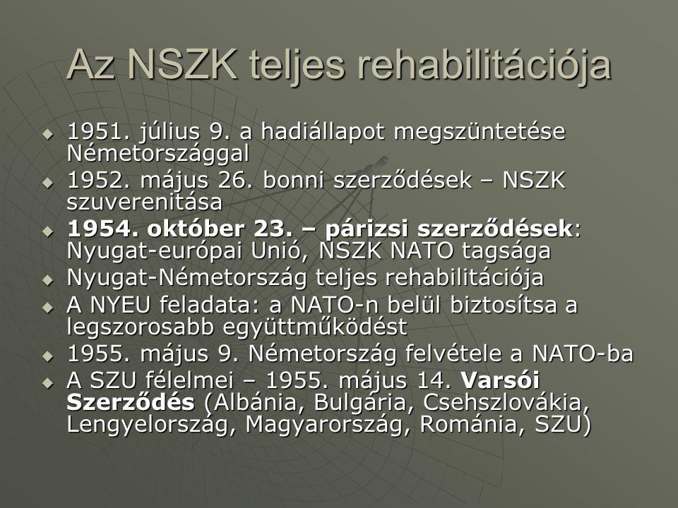 Az NSZK teljes rehabilitációja  1951. július 9. a hadiállapot megszüntetése Németországgal  1952. május 26. bonni szerződések – NSZK szuverenitása 
