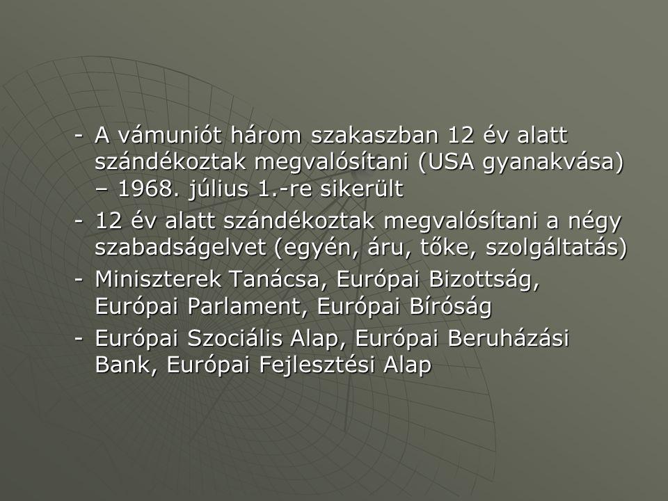 -A vámuniót három szakaszban 12 év alatt szándékoztak megvalósítani (USA gyanakvása) – 1968. július 1.-re sikerült -12 év alatt szándékoztak megvalósí